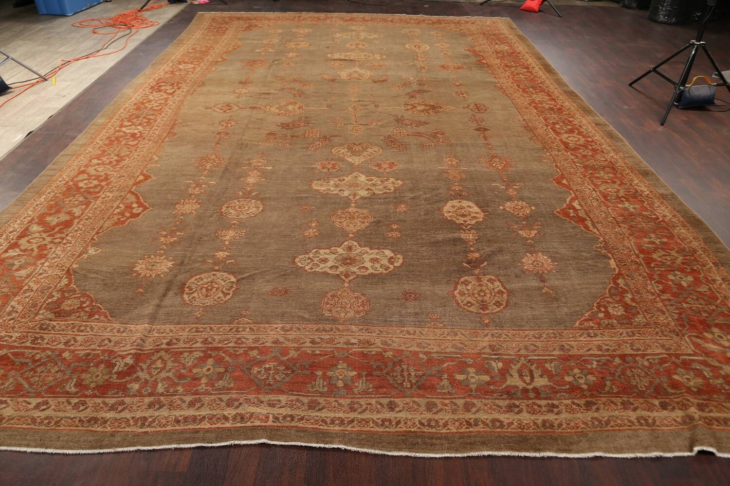 Pre-1900 Antique Sultanabad Persian Rug 13x20 image 14