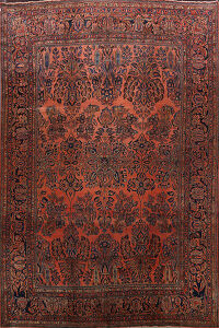 Antique Floral Vegetable Dye Sarouk Persian Area Rug 10x13