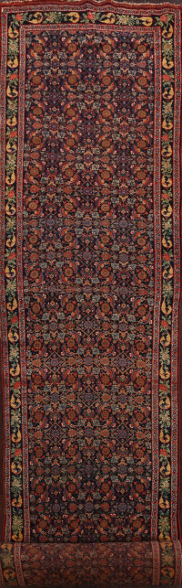 Pre-1900 Antique Bidjar Halvaei Persian Runner Rug 4x30