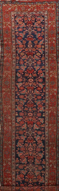 Pre-1900 Antique Vegetable Dye Herati Persian Runner Rug 4x15