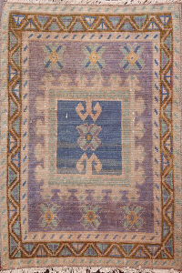 Geometric Oushak Turkish Area Rug 2x2 Square