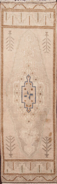 Muted Distressed Oushak Turkish Runner Rug 1x4