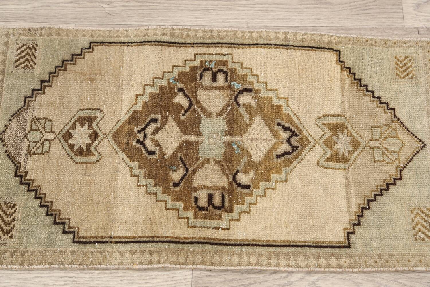 Muted Distressed Oushak Oriental Area Rug 1x3 image 11
