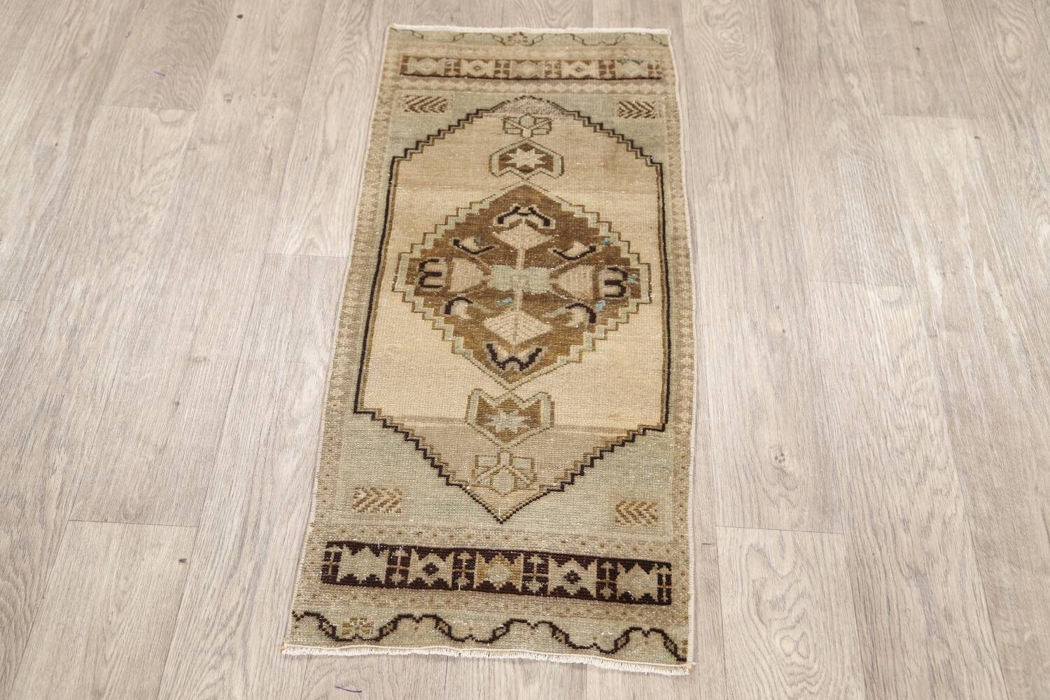 Muted Distressed Oushak Oriental Area Rug 1x3 image 12