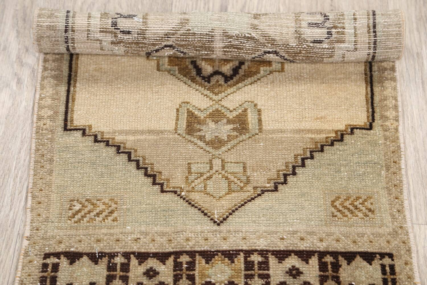 Muted Distressed Oushak Oriental Area Rug 1x3 image 13