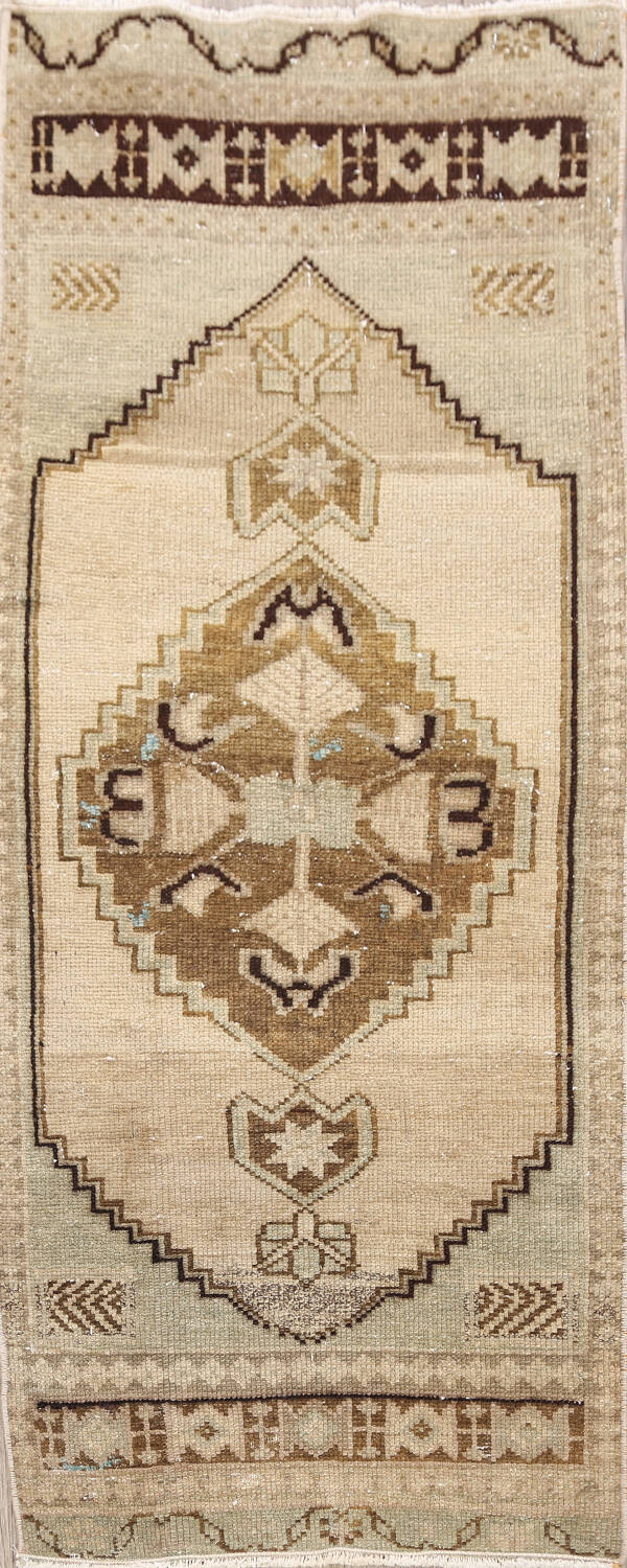 Muted Distressed Oushak Oriental Area Rug 1x3 image 1