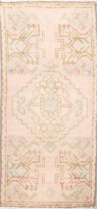 Muted Distressed Oushak Oriental Area Rug 1x3