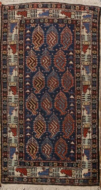 100% Vegetable Dye Antique Kazak Oriental Area Rug 2x4