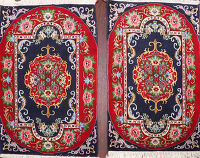 Pair of 2 Vegetable Dye Sarouk Persian Area Rugs 2x3
