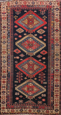 Pre-1900 Antique Vegetable Dye Kazak Oriental Area Rug 4x6