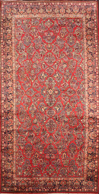 Large Vegetable Dye Antique Sarouk Persian Area Rug 10x19
