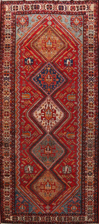 Pre-1900 Antique Vegetable Dye Qashqai Persian Area Rug 6x12