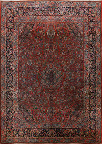 Antique 100% Vegetable Dye Kazvin Persian Area Rug 9x12