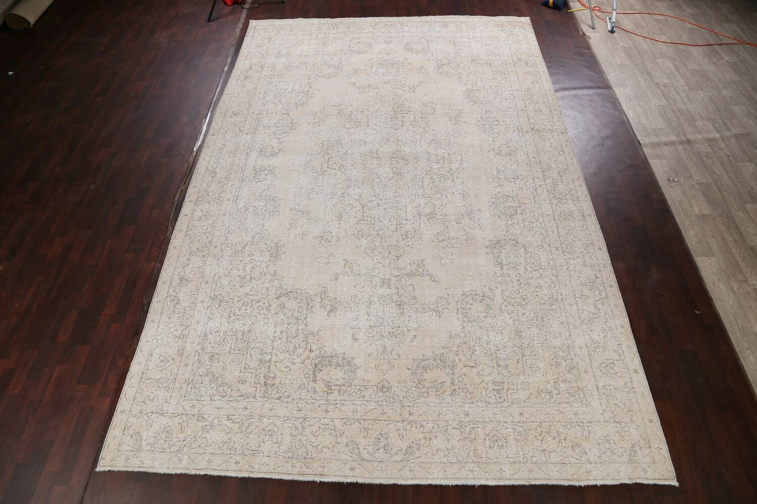 Antique Muted Distressed Tabriz Persian Area Rug 10x16 Large image 2