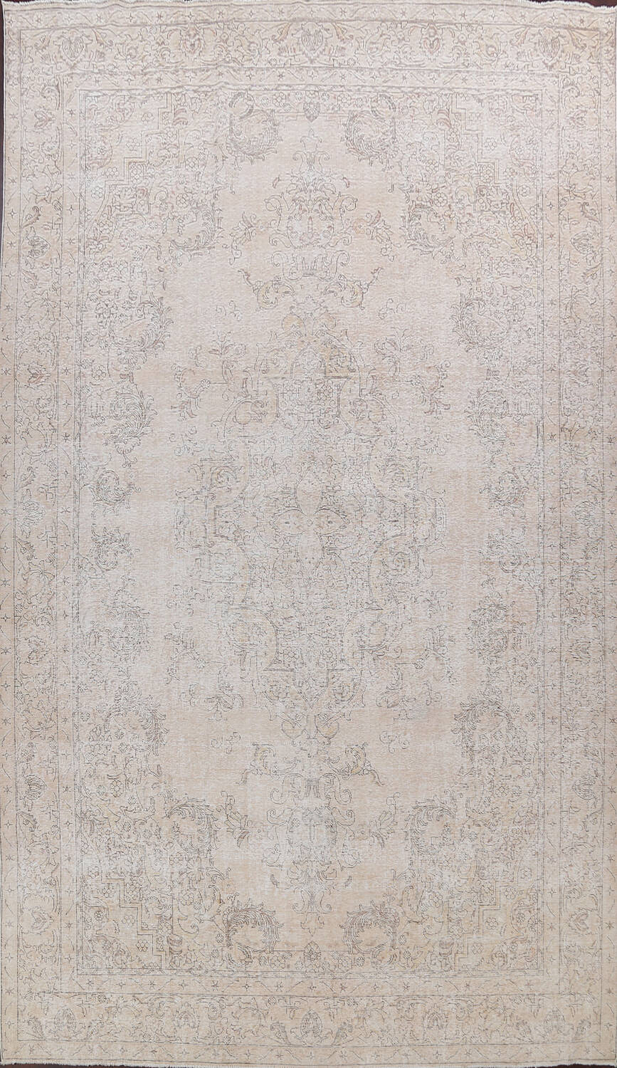 Antique Muted Distressed Tabriz Persian Area Rug 10x16 Large image 1