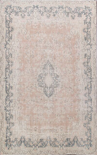 Muted Floral Kerman Persian Area Rug 9x13