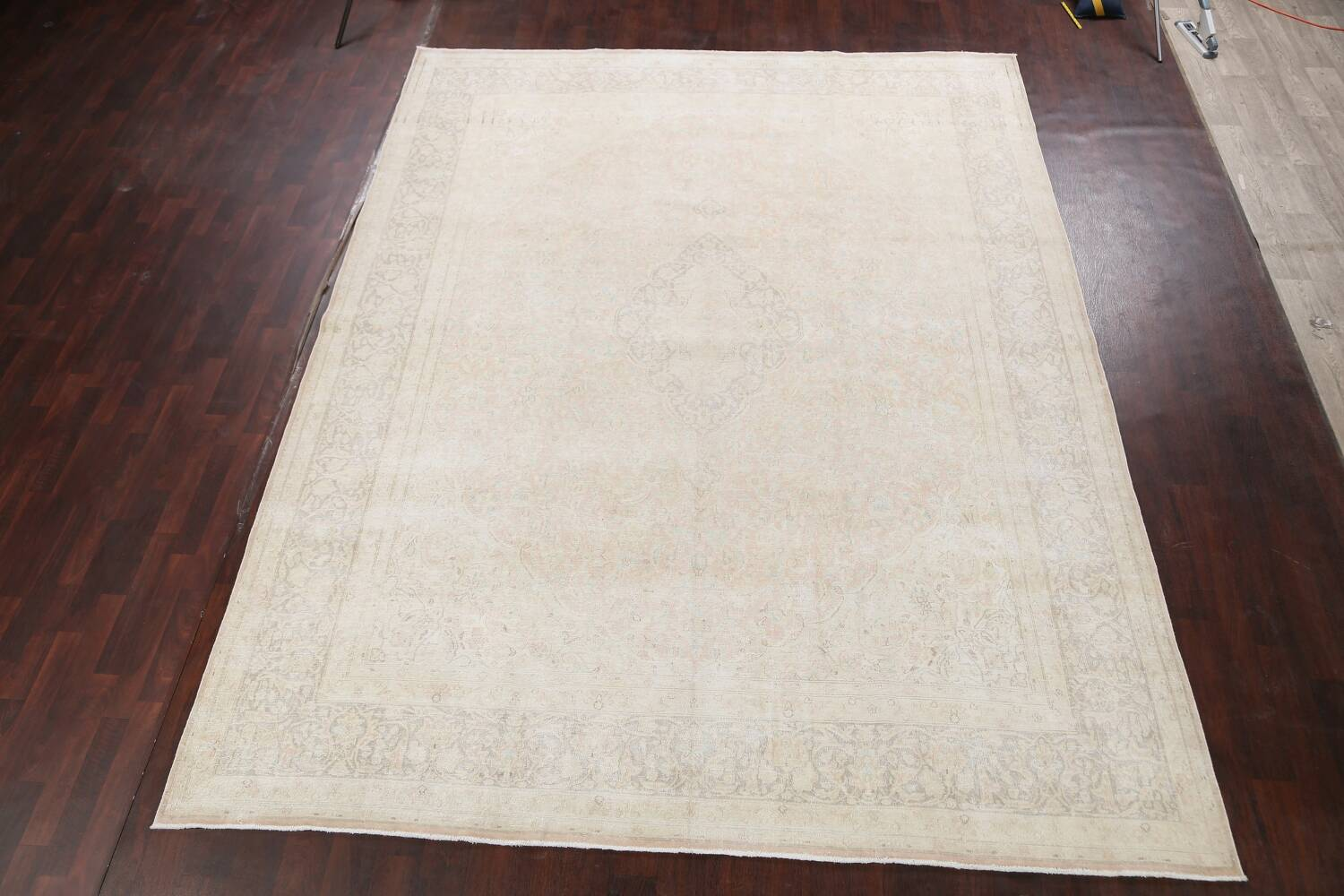 Antique Muted Distressed Kerman Persian Area Rug 10x12 image 2