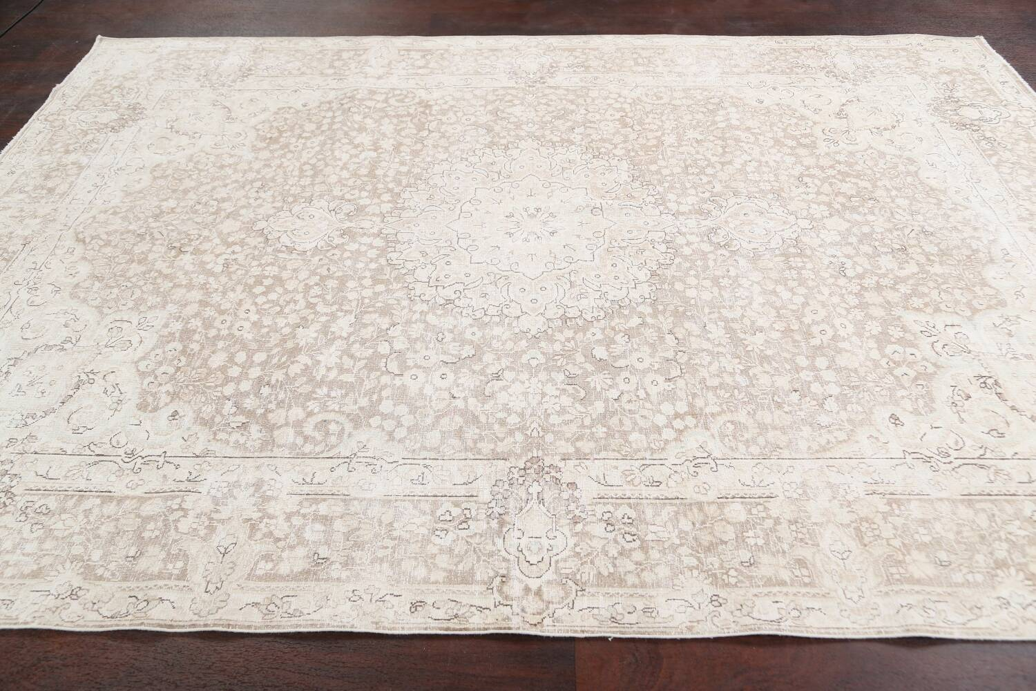Antique Muted Kerman Persian Area Rug 7x9 image 15