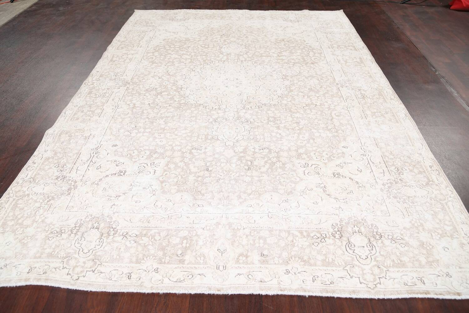 Antique Muted Kerman Persian Area Rug 7x9 image 16
