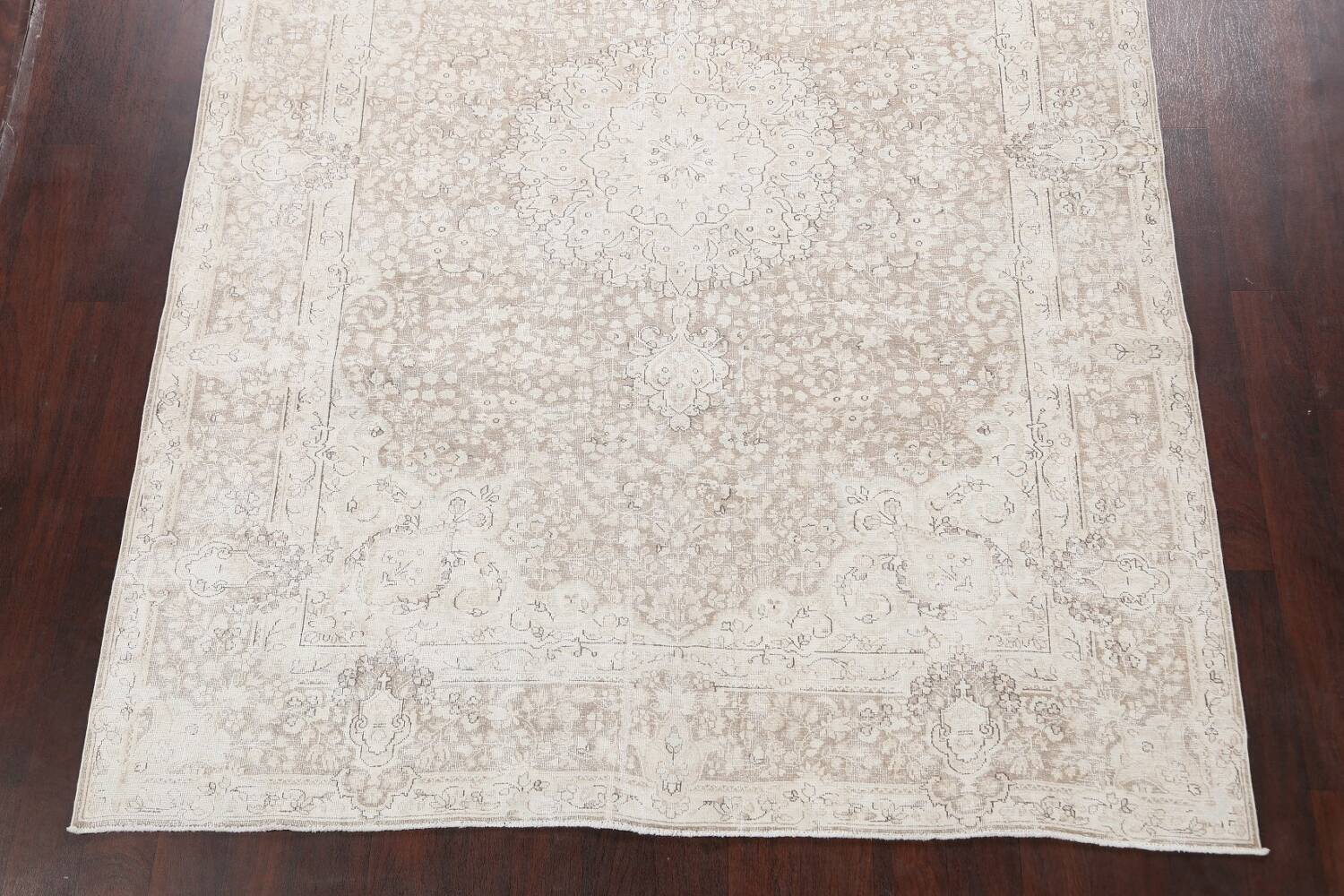 Antique Muted Kerman Persian Area Rug 7x9 image 8