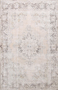 Antique Muted Distressed Kerman Persian Area Rug 8x11