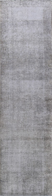 Muted Distressed Tabriz Persian Runner Rug 3x12