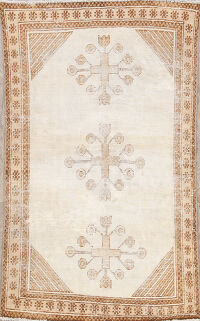 Antique Distressed Ferdos Persian Area Rug 4x6