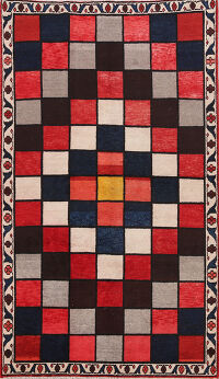Checkered Gabbeh Persian Area Rug 5x8