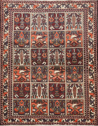 Antique Garden Design Bakhtiari Persian Area Rug 4x5
