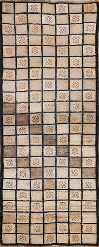 Checkered Gabbeh Persian Runner Rug 3x7