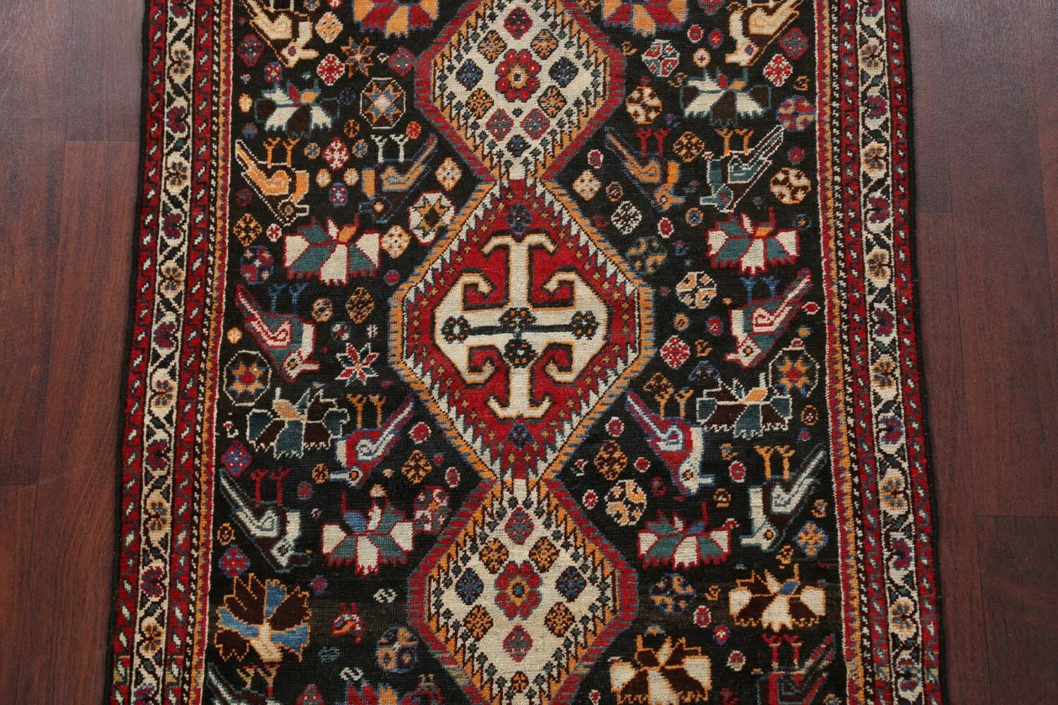 Antique Pre-1900 Tribal Bakhtiari Persian Area Rug 4x5 image 3