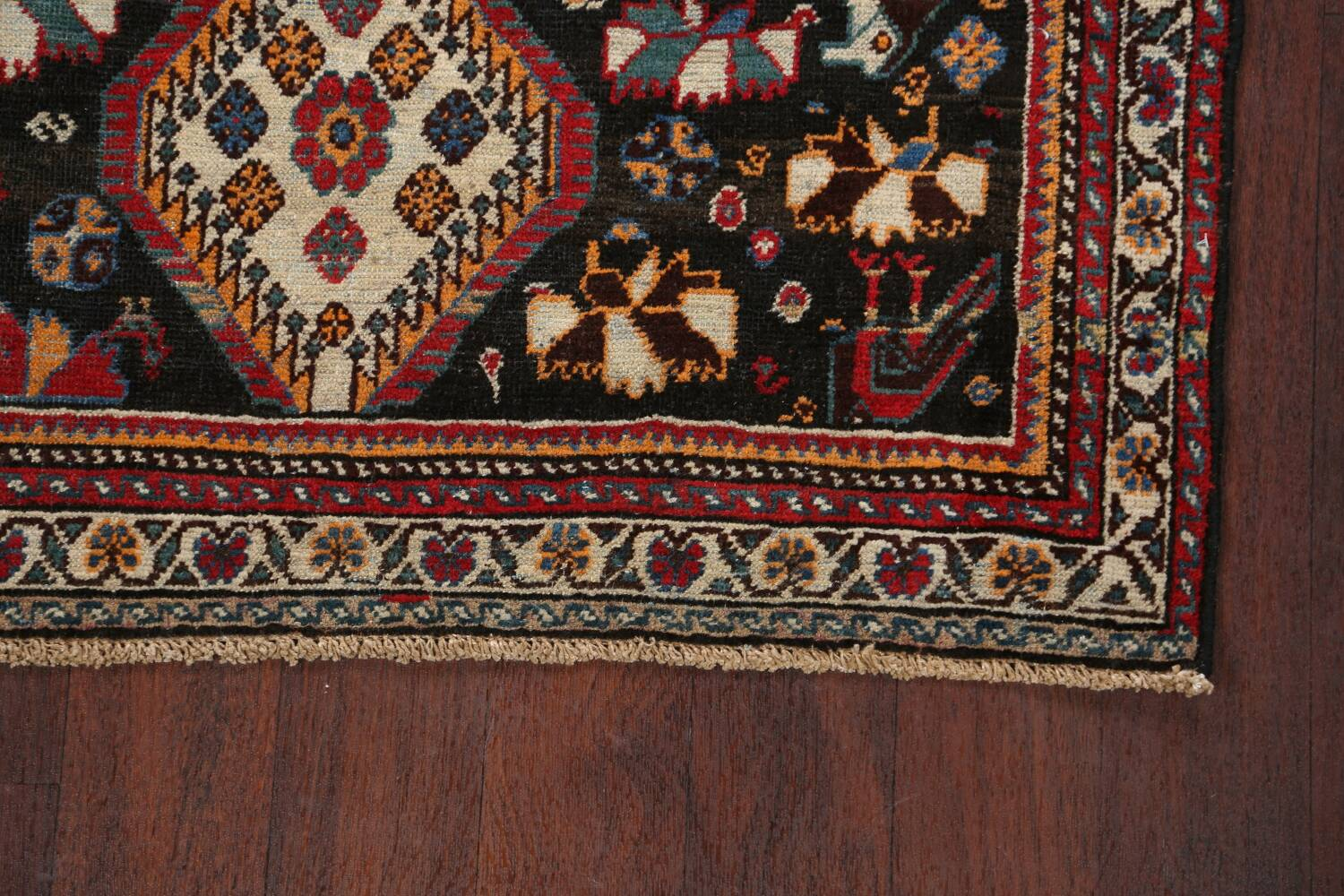 Antique Pre-1900 Tribal Bakhtiari Persian Area Rug 4x5 image 5
