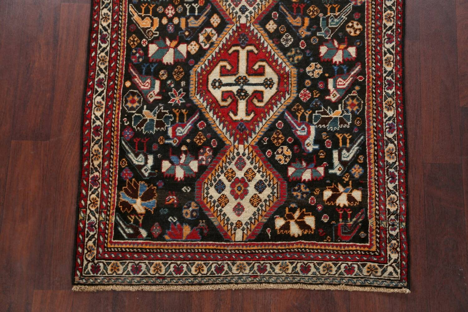 Antique Pre-1900 Tribal Bakhtiari Persian Area Rug 4x5 image 8