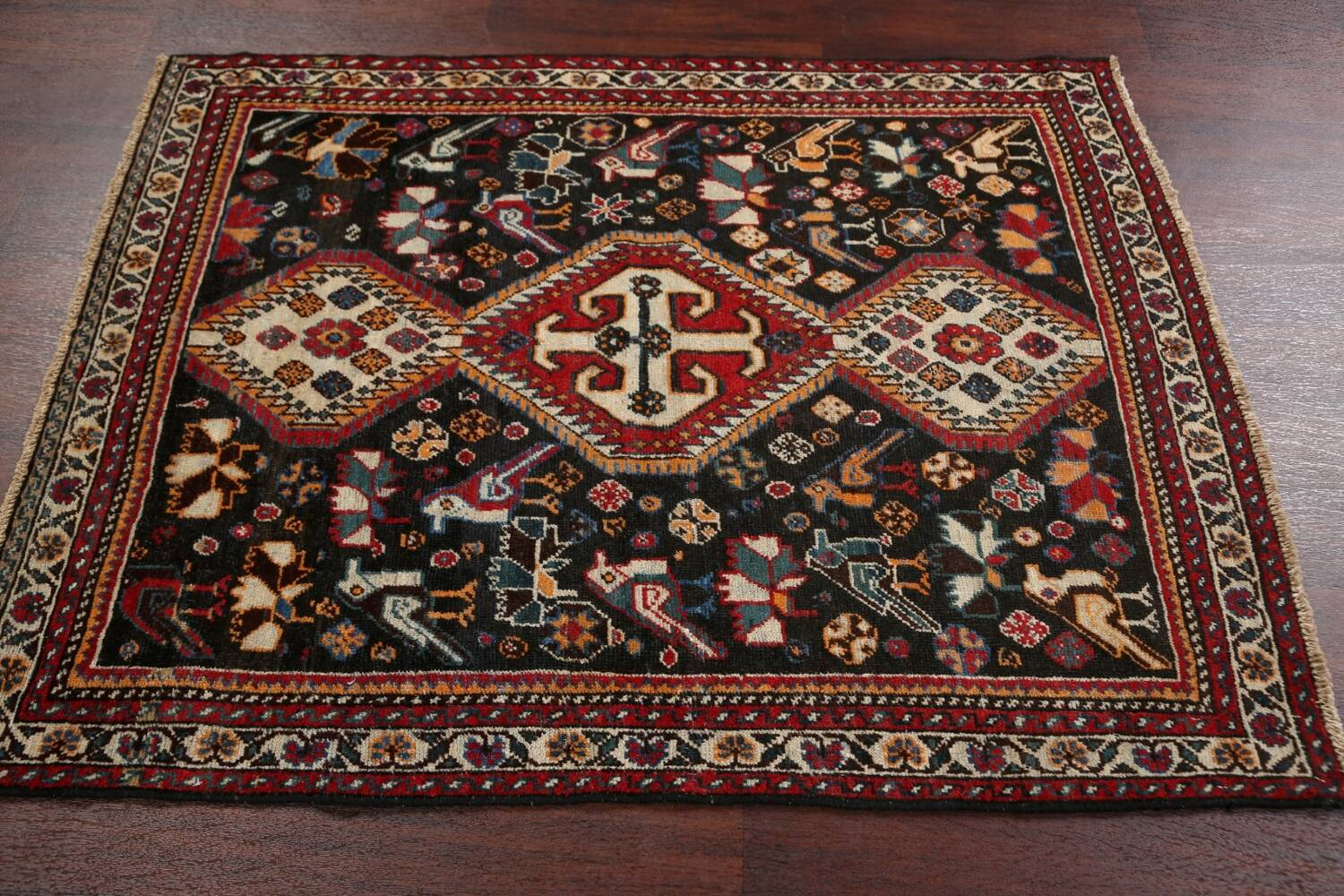 Antique Pre-1900 Tribal Bakhtiari Persian Area Rug 4x5 image 13