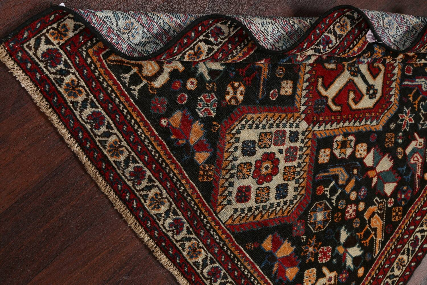 Antique Pre-1900 Tribal Bakhtiari Persian Area Rug 4x5 image 16