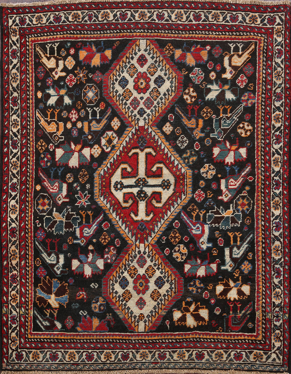 Antique Pre-1900 Tribal Bakhtiari Persian Area Rug 4x5 image 1