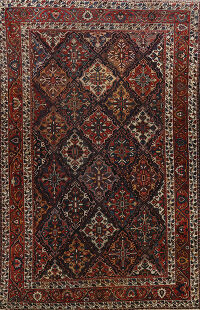 Pre-1900 Antique Vegetable Dye Bakhtiari Persian Rug 11x17