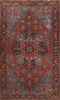 Pre-1900 Antique Heriz Serapi Persian Area Rug 8x12