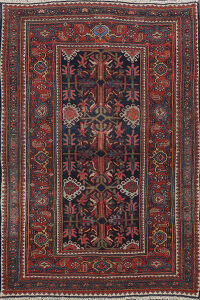 Pre-1900 Antique Bidjar Vegetable Dye Persian Area Rug 4x6