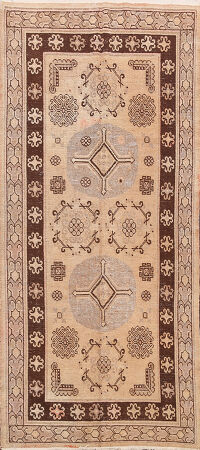 Antique Khoy 100% Vegetable Dye Oriental Runner Rug 4x8