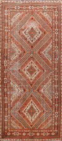 Antique Geometric Khotan Oriental Runner Rug 6x13
