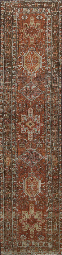 Pre-1900 Antique Heriz Serapi Persian Runner Rug 3x10