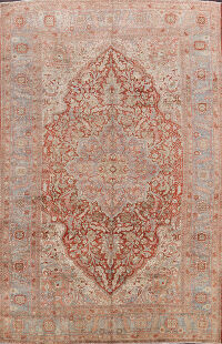 Pre-1900 Antique Heriz Serapi Persian Area Rug 9x13