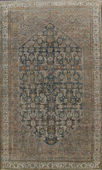 Pre-1900 Antique Large Bibikabad Persian Area Rug 11x16