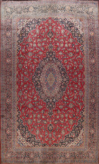 Antique Vegetable Dye Large Kashan Dabir Persian Rug 12x17