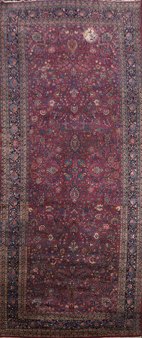 Pre-1900 Antique Burgundy Mashad Persian Area Rug 10x23