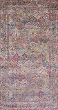 Pre-1900 Antique Kerman Vegetable Dye Persian Rug 11x22 Large