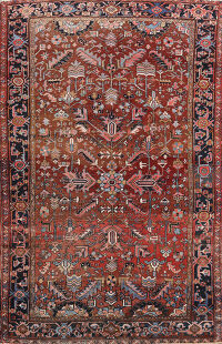 Antique Heriz Persian Area Rug 7x9