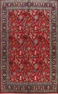 Animal Pictorial Tabriz Persian Area Rug 8x11