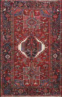 Antique Vegetable Dye Gharajeh Persian Area Rug 5x6